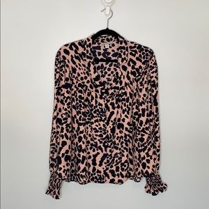 Topshop all over animal print long sleeve blouse 8
